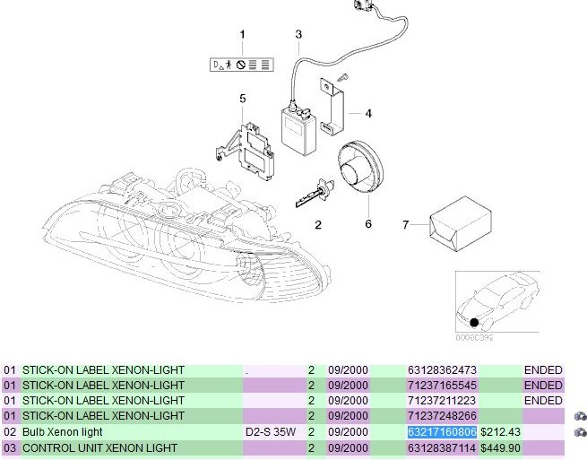 BMW E39 M5 Xenon headlight diagram