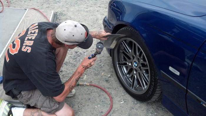 Chris touching up front wheel