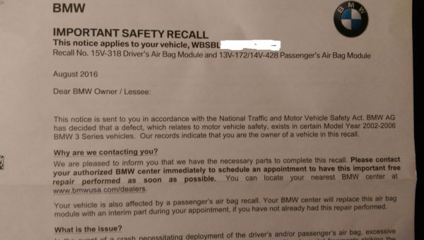 My BMW Air Bag Recall Letter