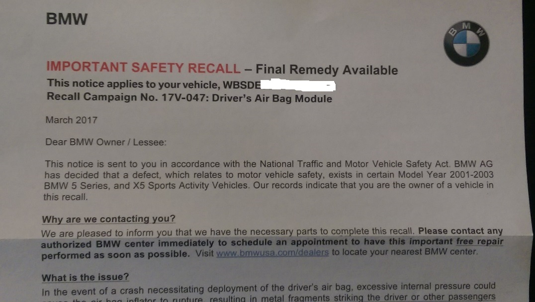 last week i received a letter from bmw about the air bag in my 2002 m5